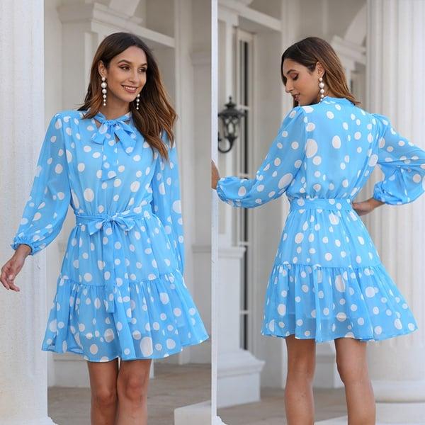 blue big dot tiered dress with a bow wedding 1Sansome dress