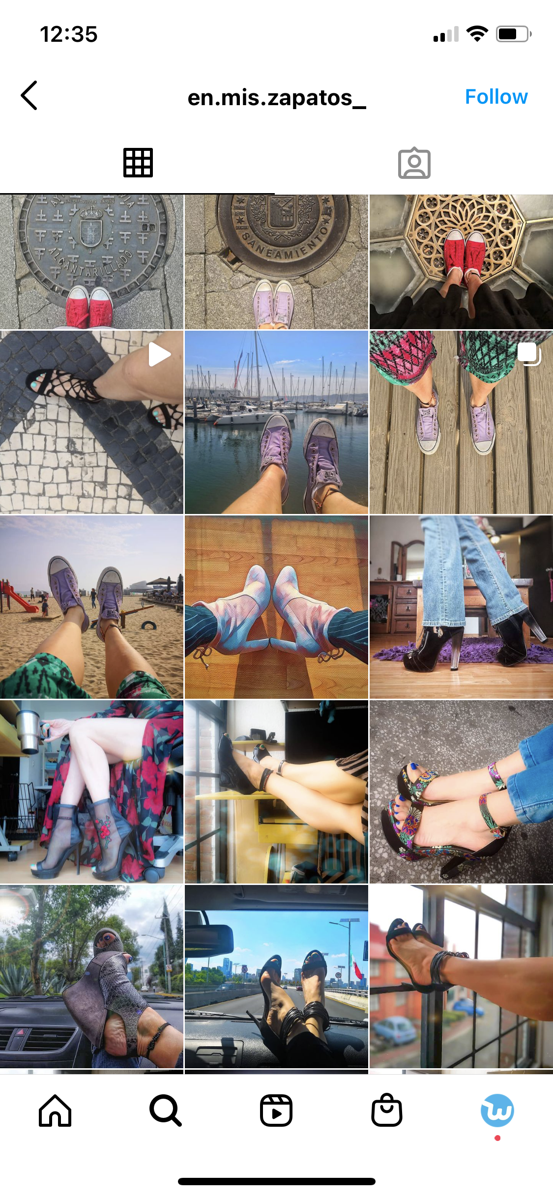 Instagram feed of shoes