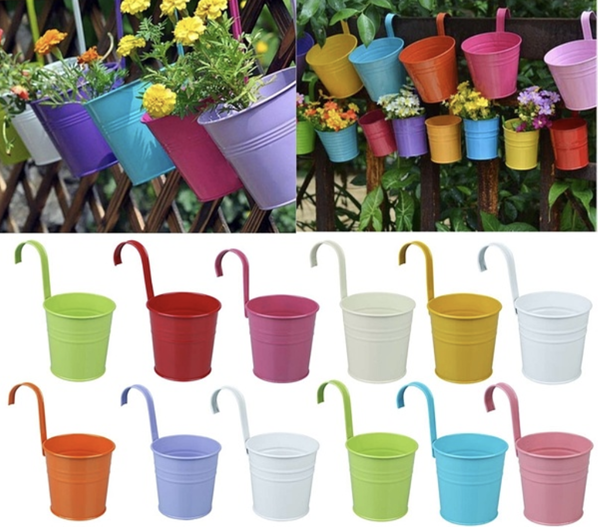 iron hanging flower pots