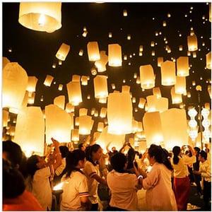 flying lantern on wish for mid-autumn festival