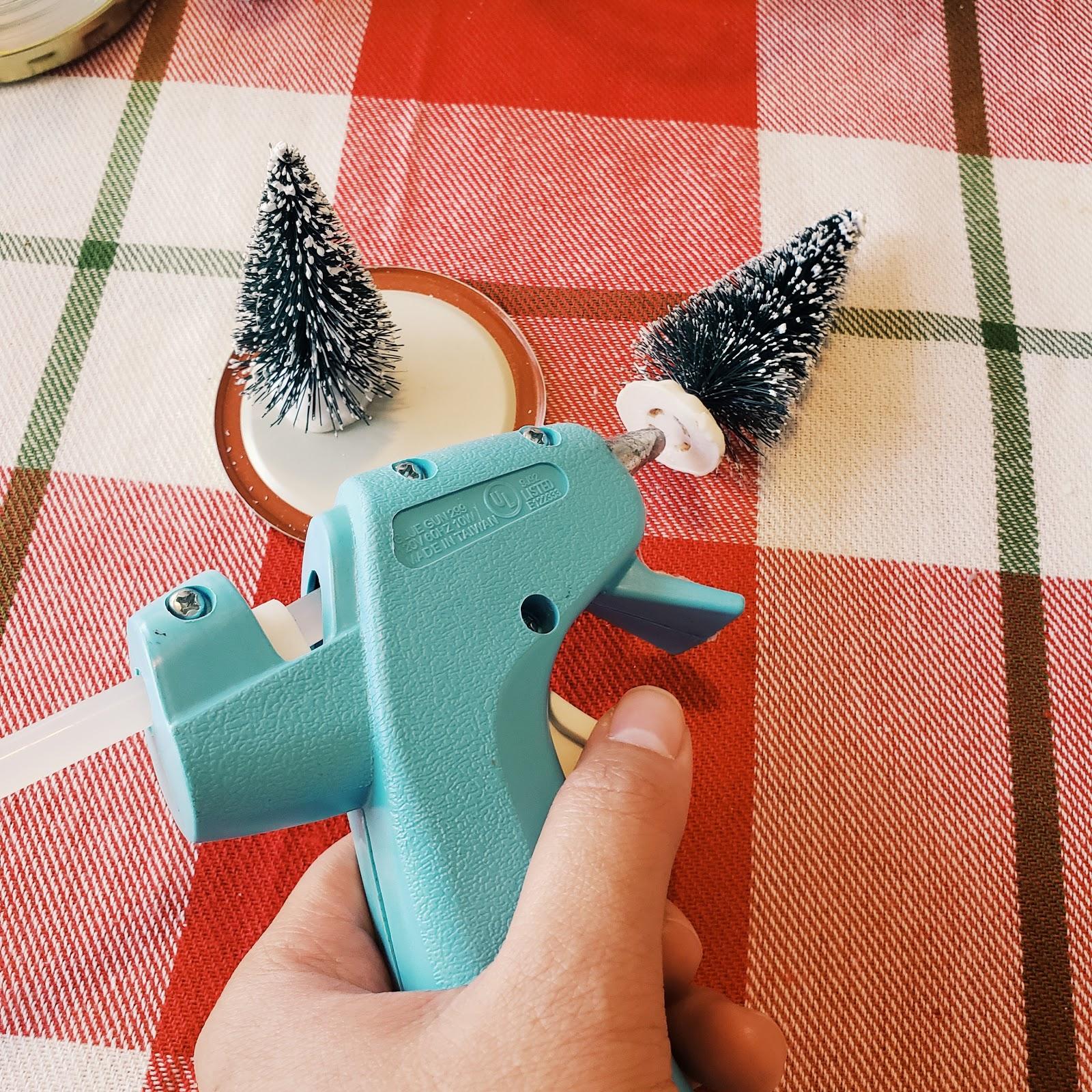 glueing mini Christmas trees