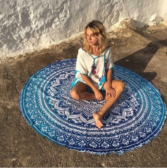 blue circular towel