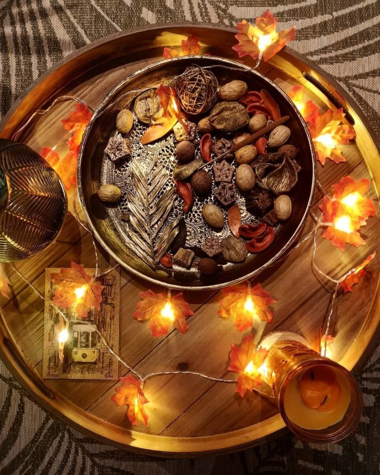 Gold Platter with Fall decorations