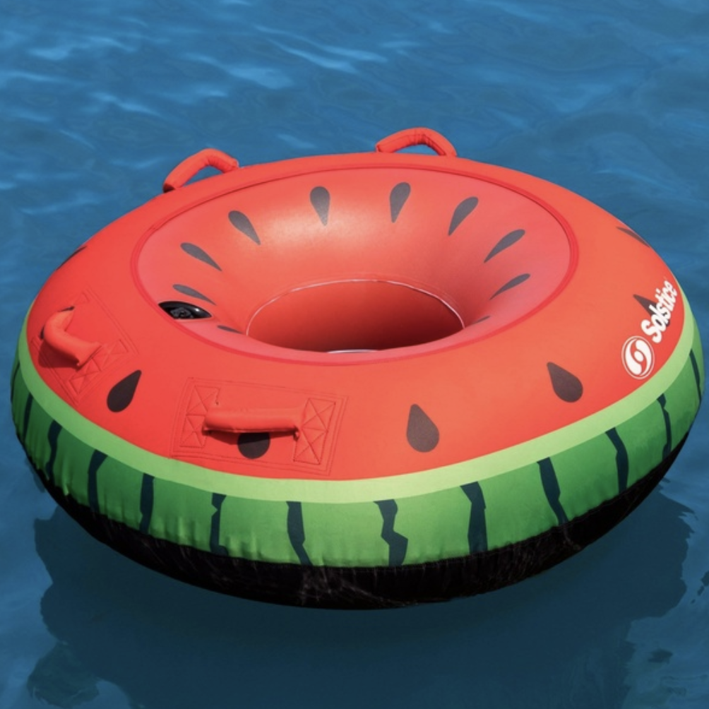 pool toys, floats, watermelon